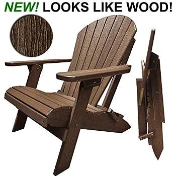 Amazon Com Black Poly Lumber Folding Adirondack Chair