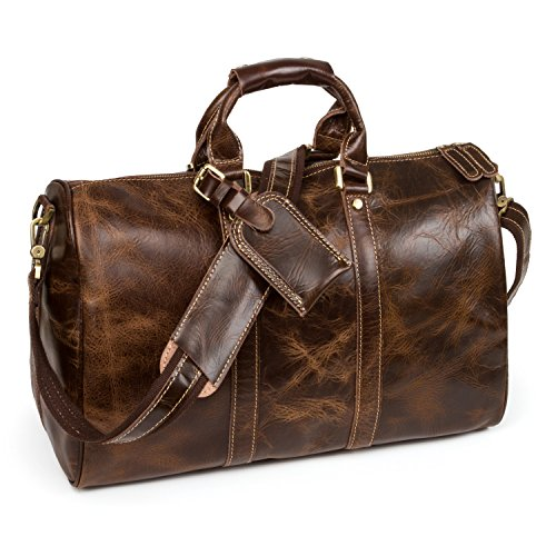 Vintage Leather Duffel Overnight...