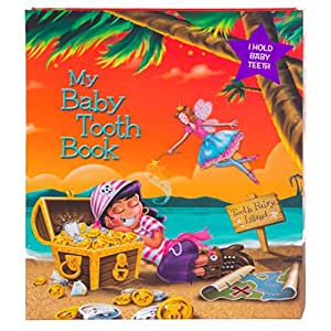 Baby Tooth Album - Tooth Keepsake Flap Book - Pirate Girl - Tooth Fairy Island, Orange