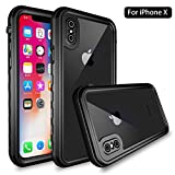 iPhone X Waterproof Case, [IP68 Certified] [Support Wireless Charging] Slim Light Shockproof Dirtproof Snowproof Case Full Body Protective Underwater Cover with Built-in Screen Protector for Apple iP