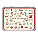 Cavallini Mini Vintage Letterpress 20-Assorted Wooden Rubber Stamps Packaged in A Tin