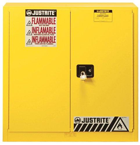 Justrite 893010 Sure-Grip EX Steel 2 Door Manual Combustibles Safety Cabinet, 40 Gallon Capacity, 43