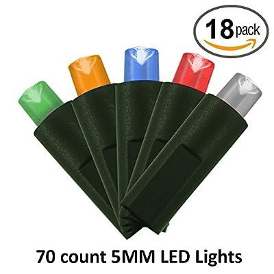 5MM LED Christmas String Lights - 70 Lights - 24 ft long - 18 Pack
