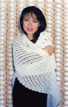 Easy Crocheted Triangle Lace Shawl Pattern (105LC)