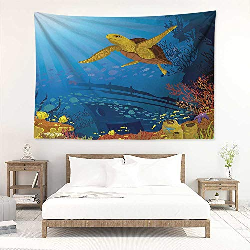 alisos Ocean,Wall Decor Tapestry Colored Coral Reef with Silhouette School of Fish and Turtle Underwater Art 84W x 70L Inch Tapestry Wallpaper Home Decor Yellow Orange Navy ()