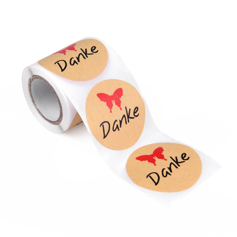 Kraftpapier-Stickerset in praktischer Spenderbox: 100 Stück Etiketten Danke, Durchmesser je ca 4 cm EAST-WEST Trading GmbH
