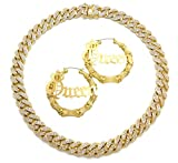 NYFASHION101 Hip-Hop Rapper's Style Iced Out Miami Cuban Chain Necklace and Queen Bamboo Style Hoop Earrings Set