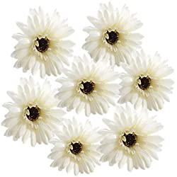 cn-Knight 12pcs 22'' Silk Artificial Gerbera Daisy Fake Chrysanthemums Mums Chrysanths Flower for Wedding,Bride&Bridesmaid,Home Office Decor,Baby Shower,Party,Prom, Centerpieces(Cream White)