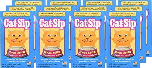 (12 Pack) Cat Sip Real Milk Treat for Cats and Kittens, 8 Oz