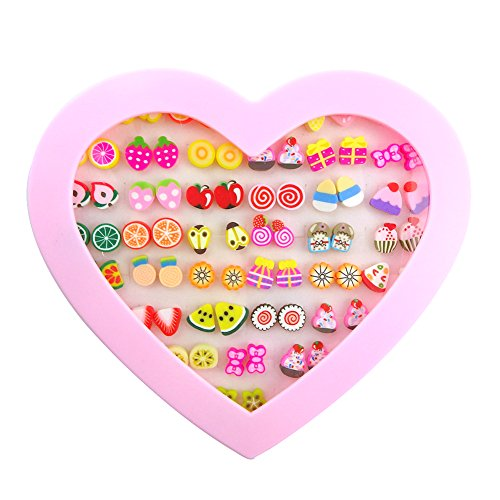 f83f0f8b0 36 Pairs Stud Earrings Hypoallergenic Kids Jewelry Fruit Cake Mixed for Girl  Women With Gift Box