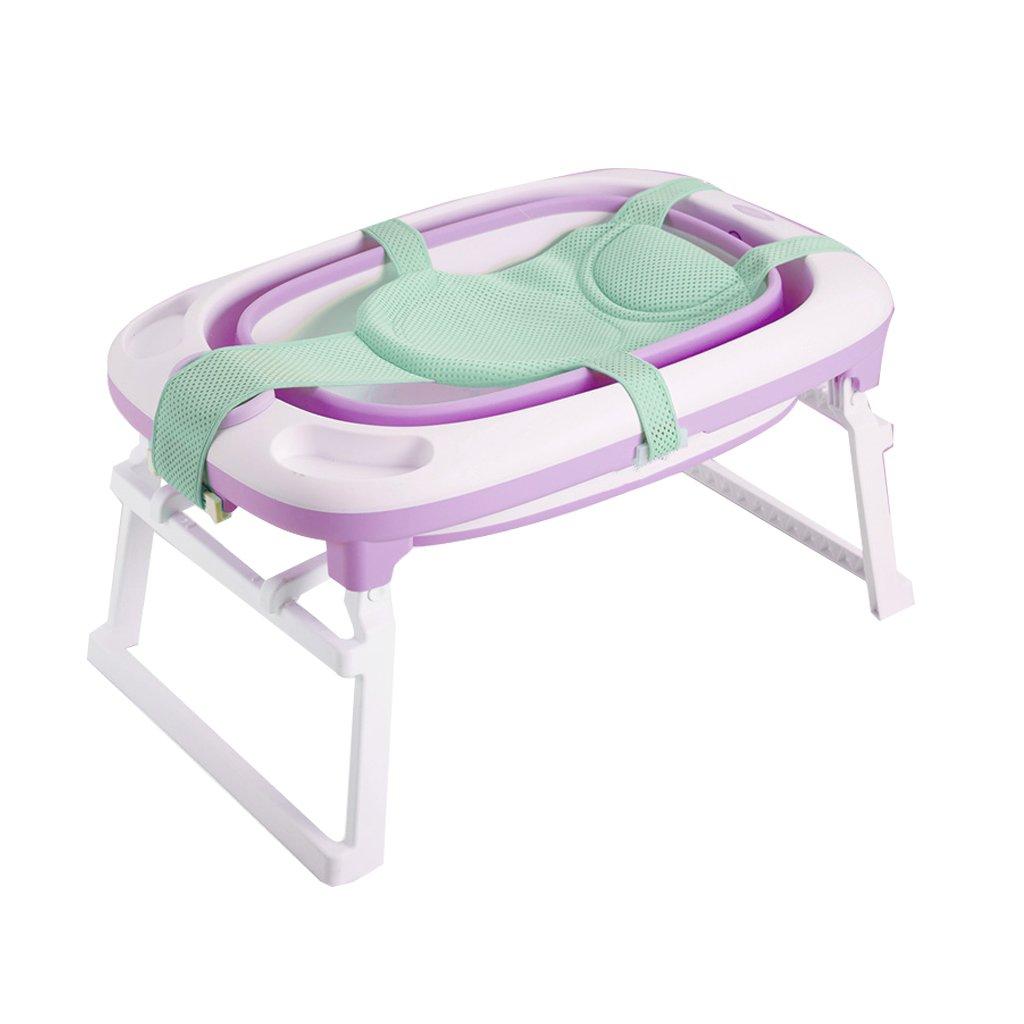 GAOYANG Foldable Baby Bathtub,Fold Baby Supplies Large Bath Tub Newborn Child Bath Bucket Child Baby Bath Tub Large Can Lie Down (Color : Purple)
