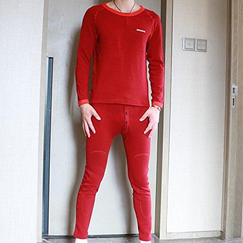_/ Ropa interior térmica establece hombre de otoño e invierno de invierno, rojo oscuro