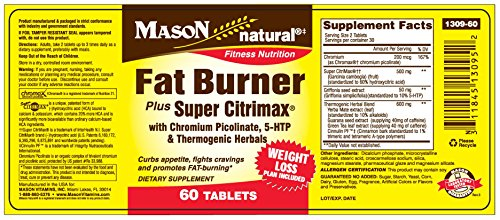 Mason Natural Super Fat Burner Plus Citrimax, Help Curbs Appetite, Fights Cravings and Promotes Fat-Burning 60 Ct Tablets