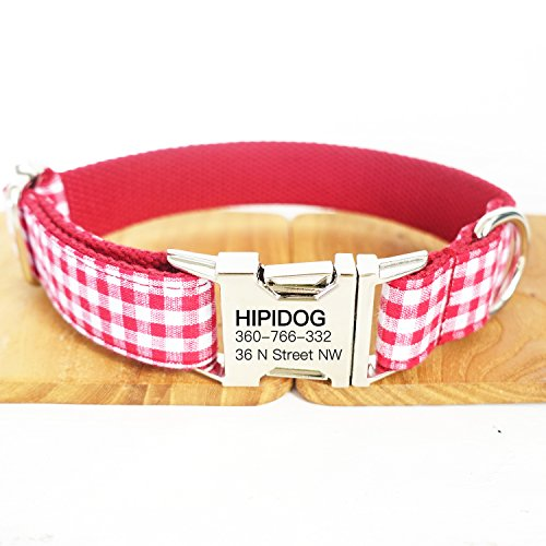 hipidog Personalized Dog Collar, Custom Engraving with Pet Name and Phone Number, Adjustable Tough Nylon ID Collar, Matching Leash Available Separately (Plaid Red Pink)
