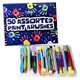 Artlicious - 50 Colorful Assorted Kids' Paint Brushes