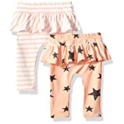 Rosie Pope Baby Girls 2 Pack Legging, Peach Stars/Stripes, 0-3 Months