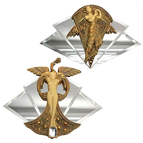 "Design Toscano Art Nouveau Angel and Peacock Princess Mirrored Wall Sculptures (Set of 2), 11"" by 3"" by 12"""