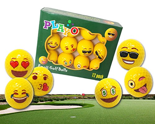 Playo Emoji Golf Balls - Kids Novelty Gifts for Dad's Day Outdoor or Field Playing - Professional Practice Golf - Playing Golf Sunglasses While