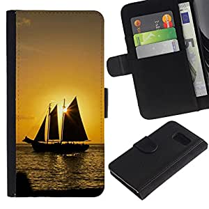 Paccase / Billetera de Cuero Caso del tirón Titular de la tarjeta Carcasa Funda para - Sunset Ship Beautiful Nature 8 - Samsung Galaxy S6 SM-G920