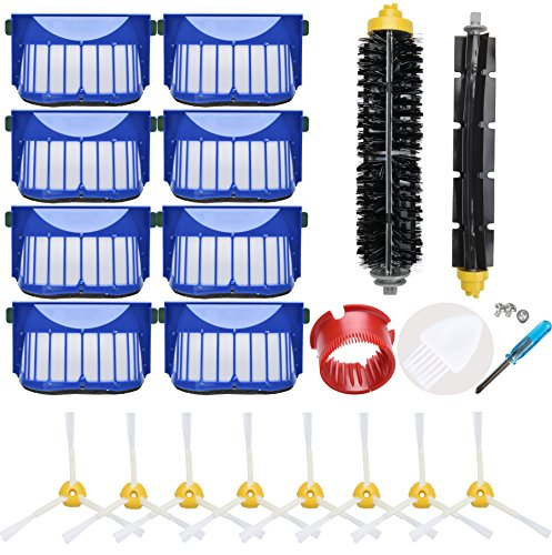 LOVECO Replacement Accessory Kit for iRobot Roomba 600 Series 675 690 680 660 650 (Not for 645 655) & 500 Series 595 585 564, 8 Filter, 8 Side Brush,1 Bristle and Flexible Beater Brush,1 Cleaning Tool
