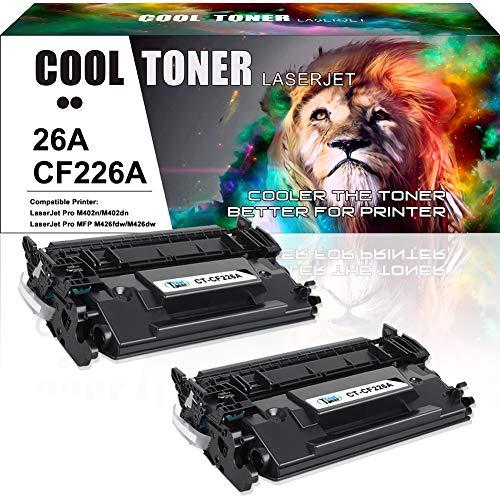 Cool Toner Compatible Toner Cartridge Replacement for HP 26A CF226A 26X CF226X for HP Laserjet Pro m402dn M402n M426fdw M402dw HP Laserjet Pro MFP M426fdw M426dw M426fdn HP M402 M426 Printer Ink-2Pack ()