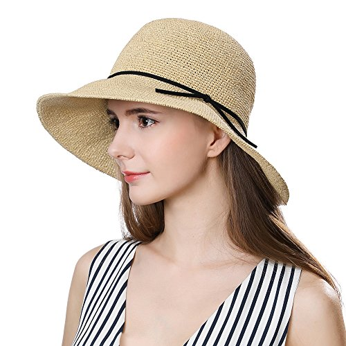 Cloche Brimmed (Womens Straw Sunhat Fedora Summer Wide Brimmed Beach Accessories Foldable Cloche Derby Beige)