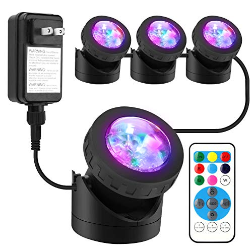 Pond Lights Remote Control Submersible LED Lights [Set of 4] IP68 Underwater Lights Aquarium Spotlight 48LED with Timer Landscape Lamp for Swimming Pool Fish Tank Fountain Pond Decoration