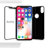 iPhone X Screen Protector [Front + Back], Auckly iPhone X Tempered Glass Screen Protector Film [HD Clear] [Full Coverage] [Anti Scratch] [Bubble Free] for Apple iPhone X / iPhone 10 [2 PACK]