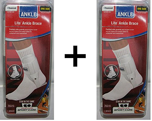 Mueller Sports Lite Active Hinged Ankle Brace Volleyball Basketball White 2-Pack