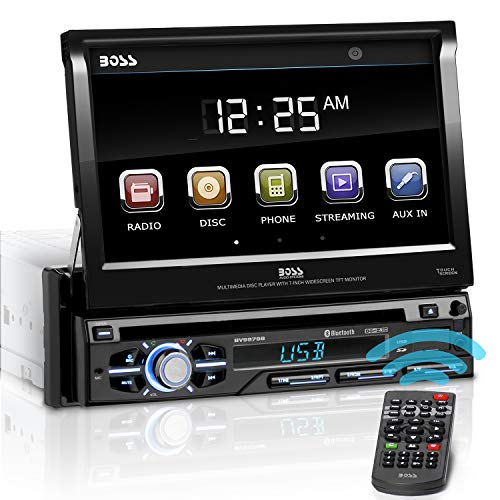 BOSS Audio Systems BV9979B Car DVD Player - Single Din, Bluetooth Audio & Hands-Free Calling, Multi-color Illumination, DVD, CD, MP3, USB, SD Aux-in, AM/FM Radio Receiver, 7 Inch LCD Touchscreen (In Dash Car Stereo Cd Player)