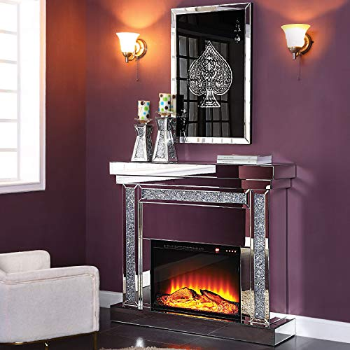 Cheap Acme Furniture Fireplace in Mirrored and Faux Black Friday & Cyber Monday 2019