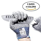 Uninova Cut Resistant Gloves with Certified EN388 Level 5 Hand Protection-Safety Work Gloves for Kitchen Food Prep, Meat Cutting, Wood Carving, Outdoor Yard Work-One Pair Large Gray+Red