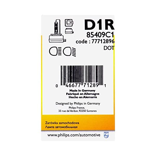 Philips 85409C1 D1R Standard Authentic Xenon HID Headlight Bulb 1 Pack