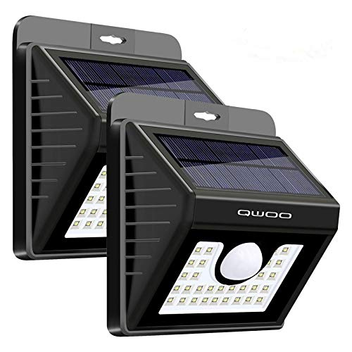 QWOO Solar Lights Outdoor 30LED Solar Motion Sensor Lights Waterproof Security Night Lights Wireless Wall Lights for Garden,Patio, Backyard,Porch,Patio,Driveway(2 Pack)