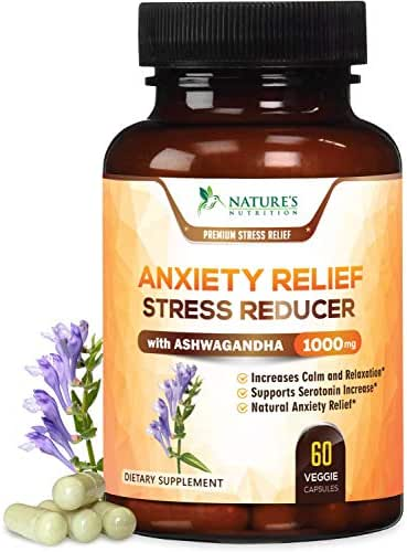 Anxiety Supplements Highest Potency Stress Relief 1000mg - Natural Mood Boost, Thyroid & Adrenal Support, Made in USA, Serotonin & Dopamine Enhancer w/Ashwagandha & 5HTP - 60 Capsules