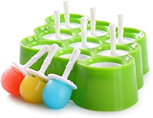 Reusable Mini Pop Molds,9 Miniature Popsicle Molds With Sticks and Drip-guards,Easy-Release and BPA-free Silicone,DIY Ice Cream Maker Kit and Candy Chocolate Mould for Kids,Family,Adults (red) (green)