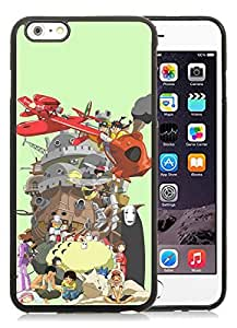 Miyazaki Characters Black iPhone 6 Plus 5.5 inch TPU Cellphone Case Luxurious and Newest Design