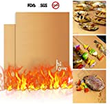 Hilove Copper Grill Mat Set of 2-As Seen on TV Non-stick BBQ Grill & Baking Mats - FDA-Approved,Reusable and Easy to Clean - Works on Gas, Charcoal, Electric Grill and More - 16 x 13 Inch (gold)