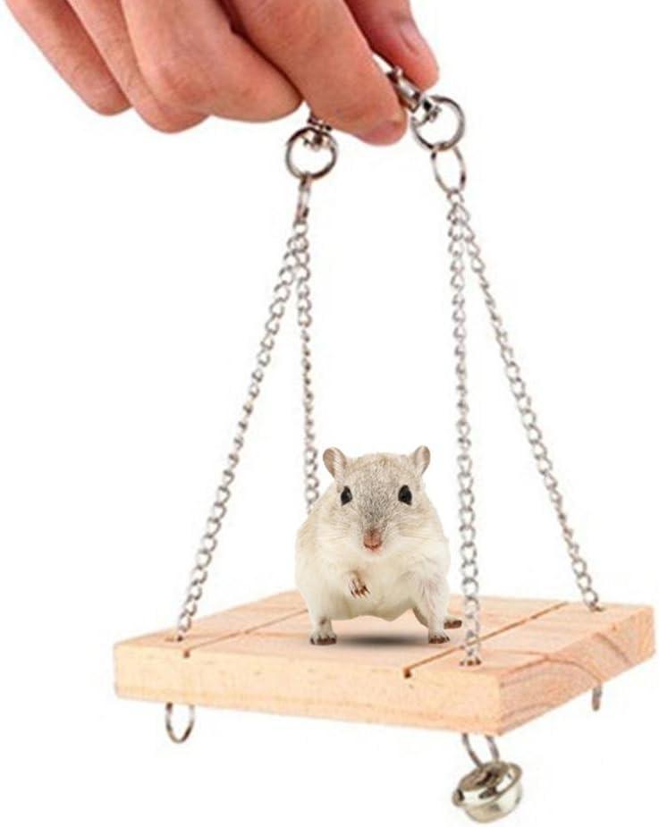 Kobwa Juguetes para mascotas, puente de madera para colgar en el hámster, juguete para masticar para mascotas, puente de madera para colgar, escalera flexible con campana para pequeños pájaros o roedores: Amazon.es:
