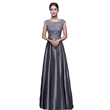 Amazon.com: Kivary® Grey Sheer Lace Appliques Cap Sleeves Formal Long A Line Evening Prom Dresses: Clothing