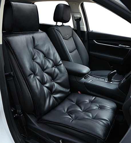 Car Seat Cushion Soft Leather Car Seat Pad Protector -Premium Cotton Keep Comfortable Universal Four Seasons, Seat Cover pad Mat for Auto Supplies Office Chair 1PC Black