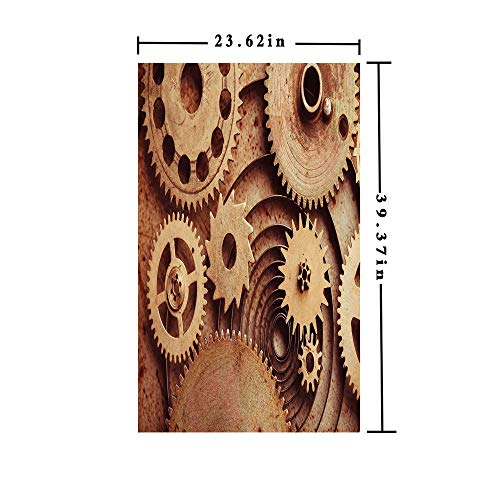 3D No Glue Static Decorative Privacy Window Films,Inside The Clocks Theme Gears Mechanical Copper Device Steampunk Style Print,W15.7xL63in,for Home Office with Cinnamon