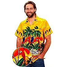 Funky Hawaiian Shirt Men Short-Sleeve Front-Pocket Parrot Palms Yellow