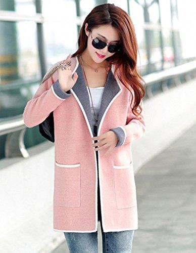 WSLCN - Abrigo - Blusa - Básico - Manga Larga - para mujer rosa claro