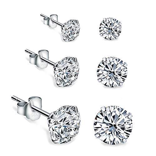 IminiJewelry Round Clear Cubic Zirconia Sterling Silver Stud Earrings for Women Girls Cartilage Hypoallergenic Mini Diamond CZ Huggie Piercings Post 2mm 3mm 4mm ()