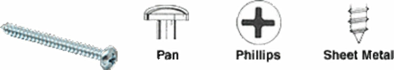 Pack of 100 CRL 8 x 5//8 Pan Head Phillips Sheet Metal Screws