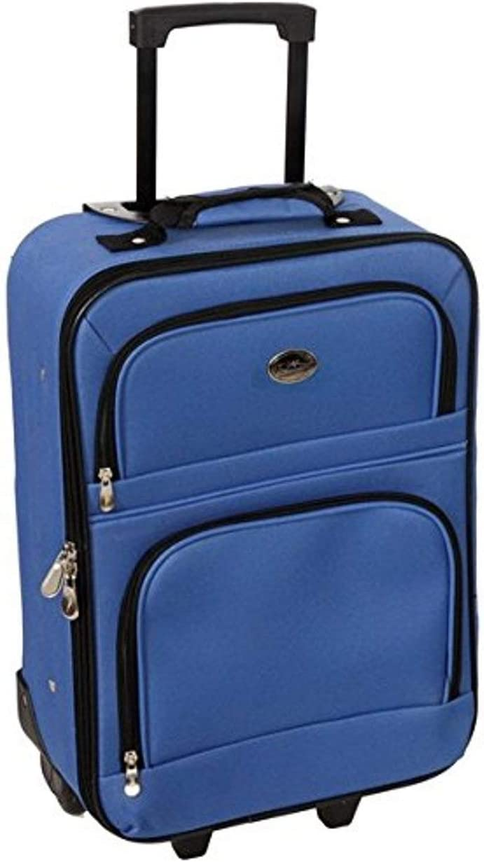 Jetstream 18 Inch Lightweight Luggage Softside Carry On Suitcase Blue
