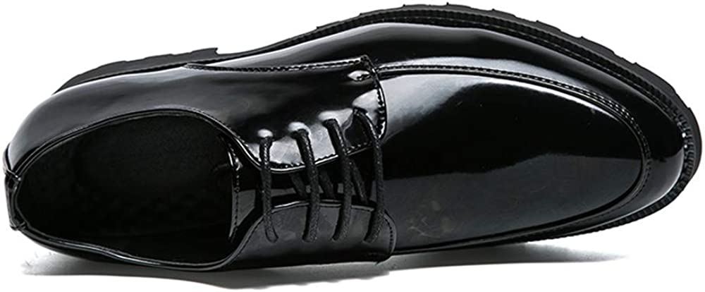 CHENDX Shoes Mens Casual Pointed Toe Business Oxford Pig Skin Insole Patent Leather Formal Shoes