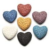 JOVIVI 7pcs/set Flat Heart Natural Lava Stones Beads For Essential Perfume Oil Diffuser