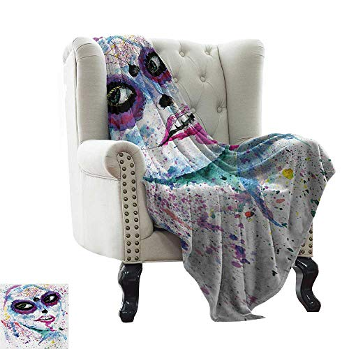 Anyangeight Girls,Weave Pattern Extra Long Blanket,Grunge Halloween Lady with Sugar Skull Make Up Creepy Dead Face Gothic Woman Artsy 60